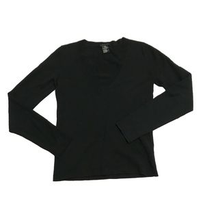 Theory Solid Black Wool V Neck Sweater Blouse Top